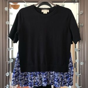Kate Spade Black Blue Floral Broome Street Sweater
